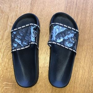 PINK Slides in Black and White Brand New!